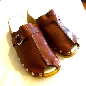 Rieker EU 38 clog / slides - leather w. peep-toe
